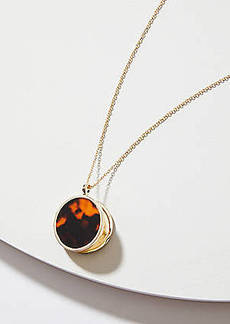 LOFT Reversible Tortoiseshell Print Locket Pendant Necklace