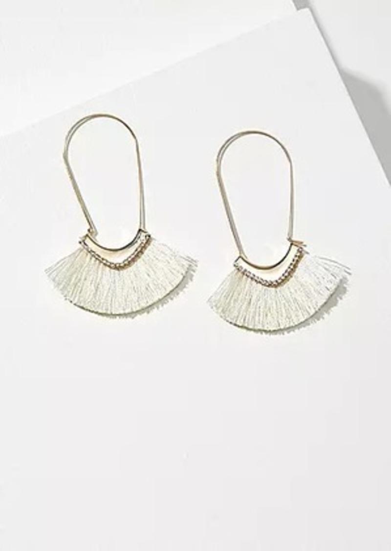 LOFT Rhinestone Fabric Hoop Earrings