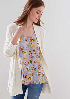 LOFT Rib Trim Pocket Open Cardigan