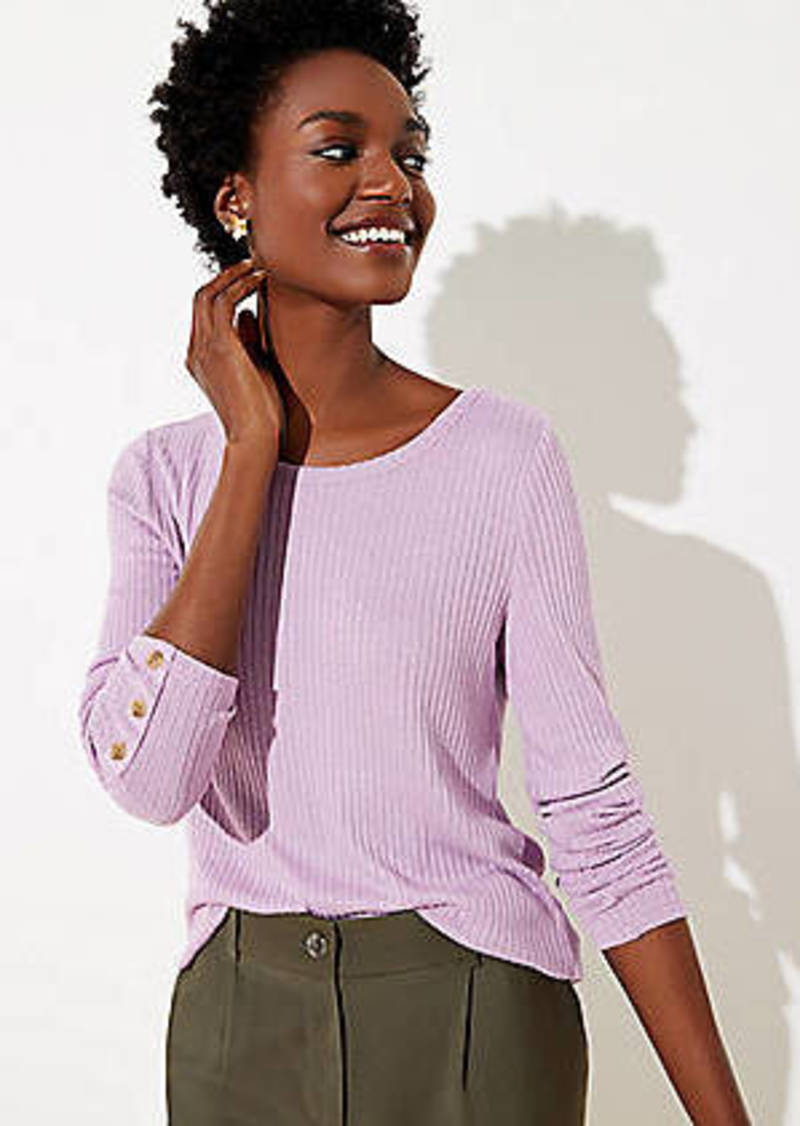 LOFT Ribbed Button Cuff Long Sleeve Tee