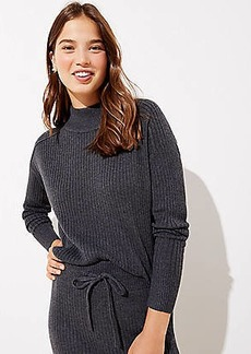 LOFT Ribbed Luxe Knit Mock Neck Sweater