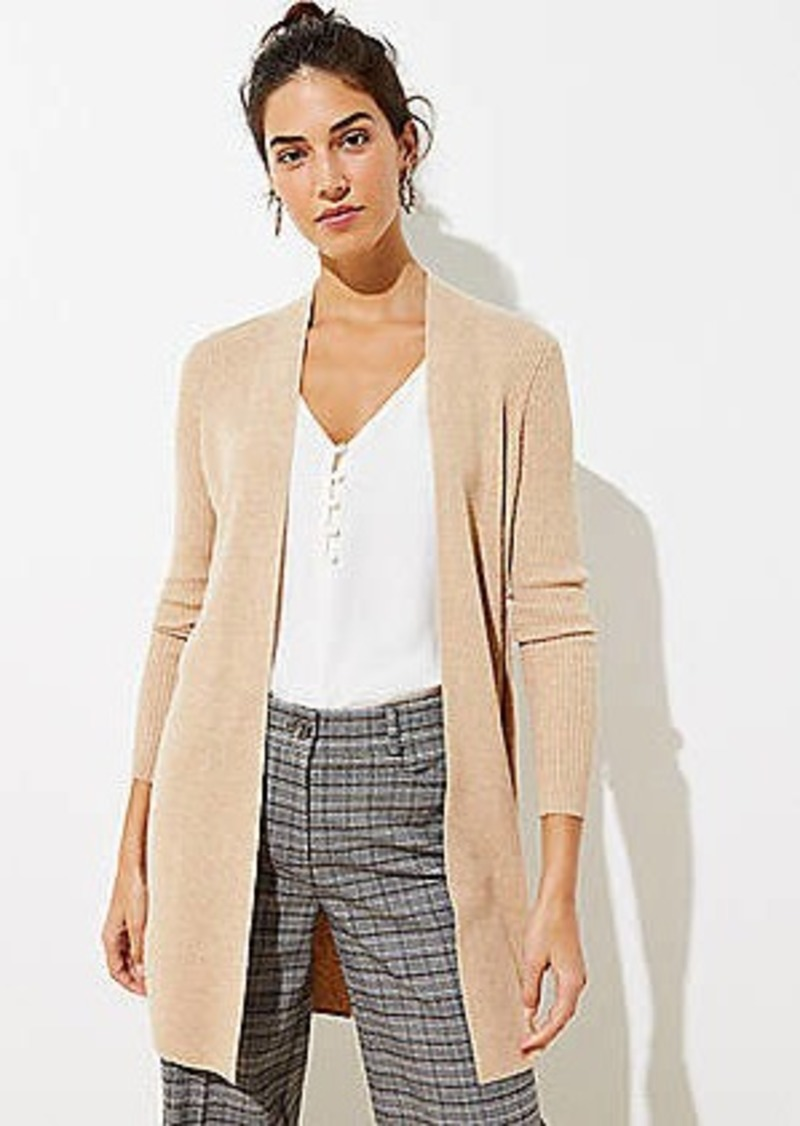 LOFT Ribbed Open Cardigan