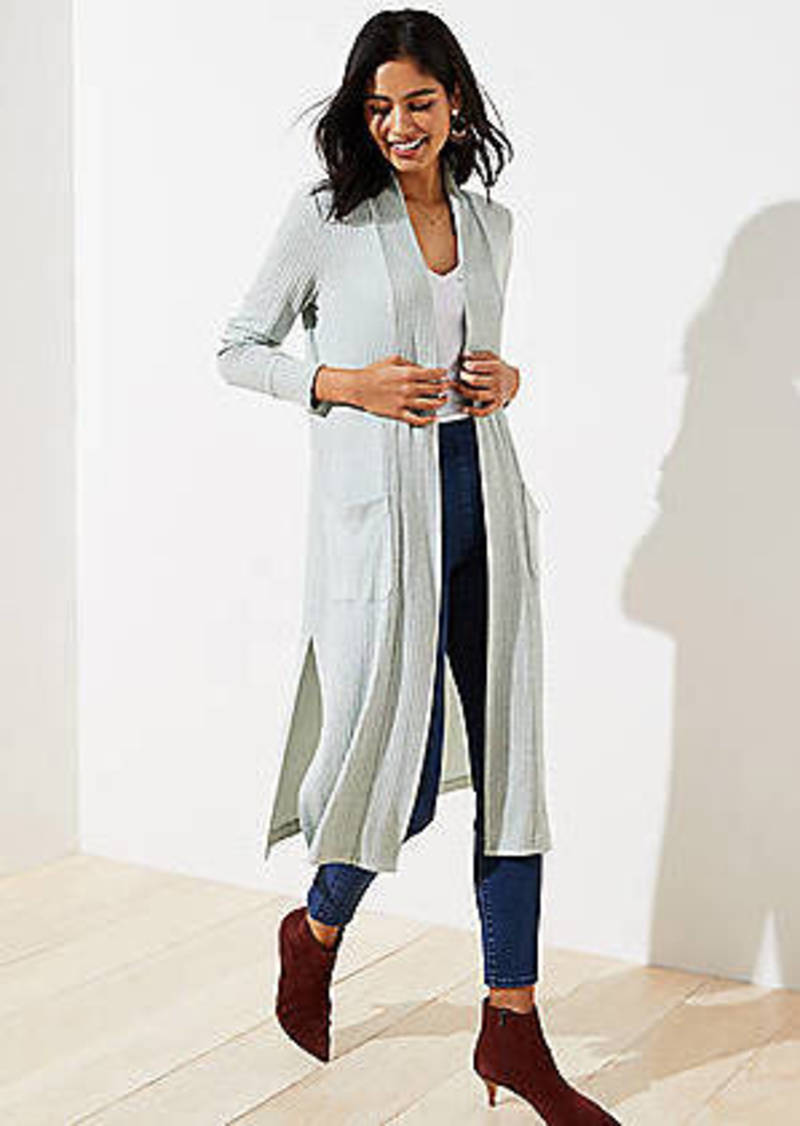 LOFT Ribbed Pocket Duster Sweater