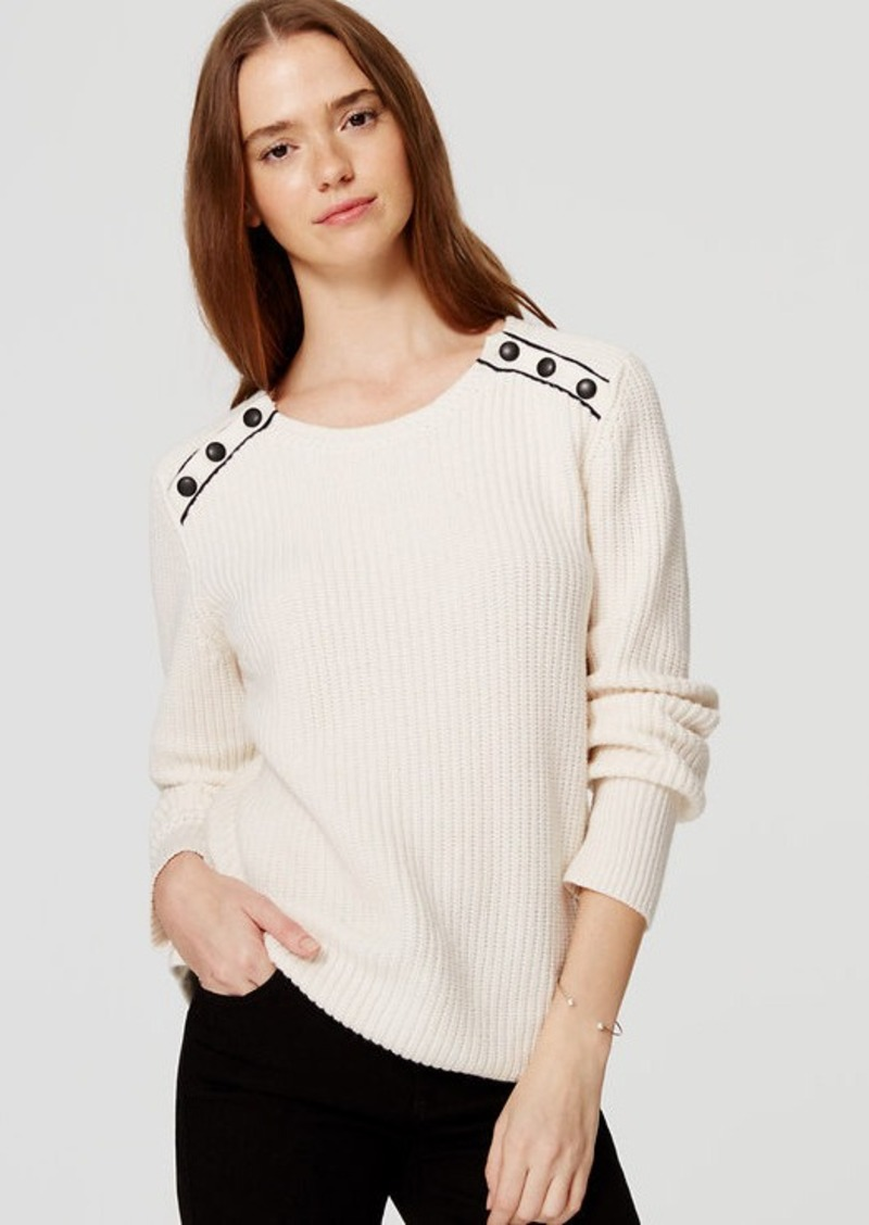 LOFT Ribbed Shoulder Button Sweater | Sweaters - Shop It To Me
