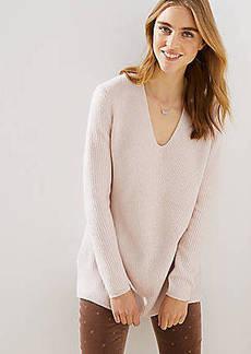 LOFT Ribbed V-Neck Tunic Sweater