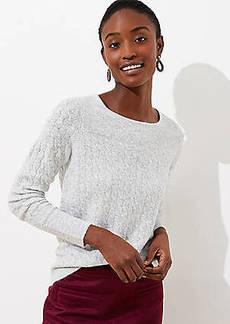 LOFT Ribbed Yoke Cable Sweater