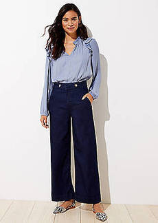 LOFT Button Tab Wide Leg Crop Jeans in Saturated Rinse Wash