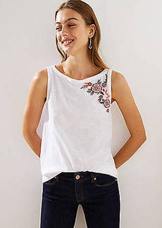 LOFT Rose Embroidered Vintage Soft Swing Tank