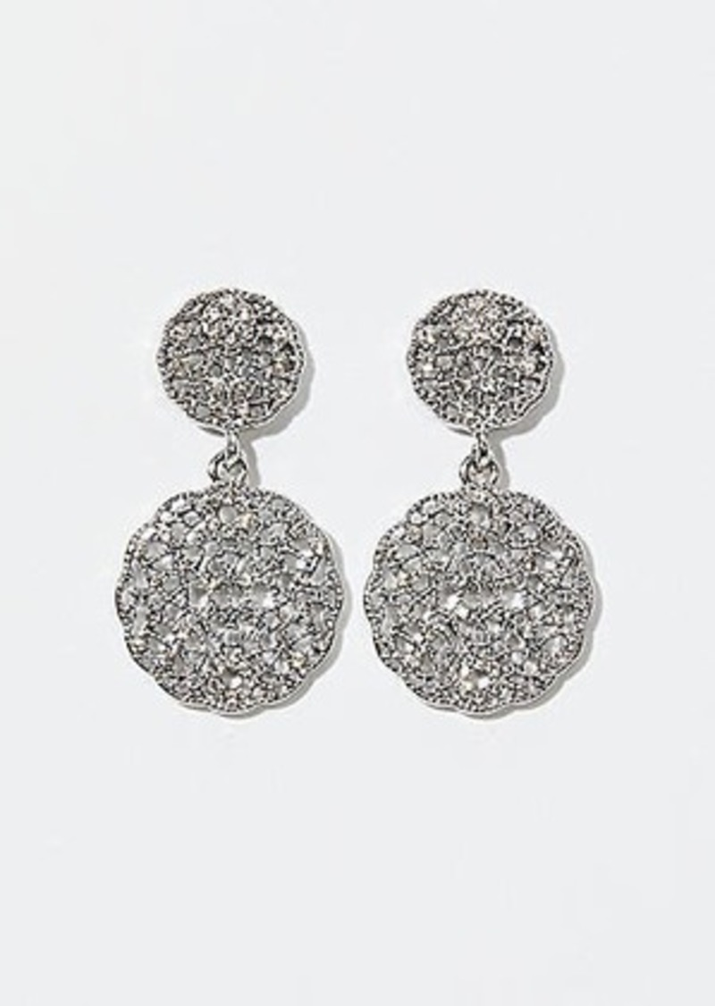 LOFT Round Pave Filigree Drop Earrings