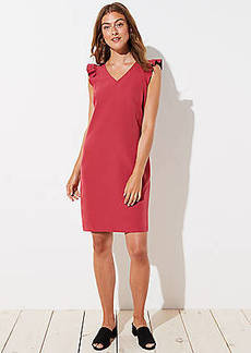 LOFT Ruffle Cap Sleeve Shift Dress