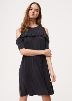Ruffle Cold Shoulder Swing Dress