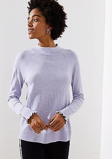 LOFT Ruffle Cuff Mock Neck Sweater