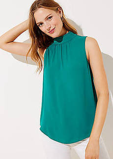 LOFT Ruffle Mock Neck Mixed Media Shell