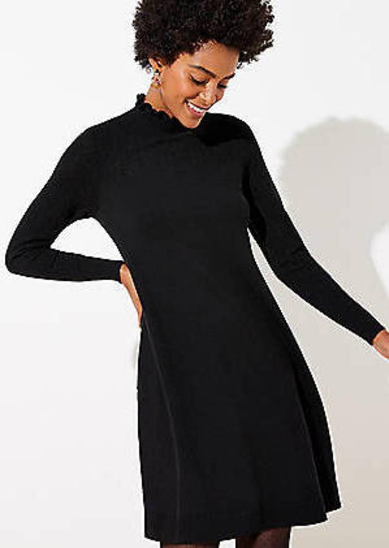 LOFT Ruffle Neck Pointelle Sweater Dress