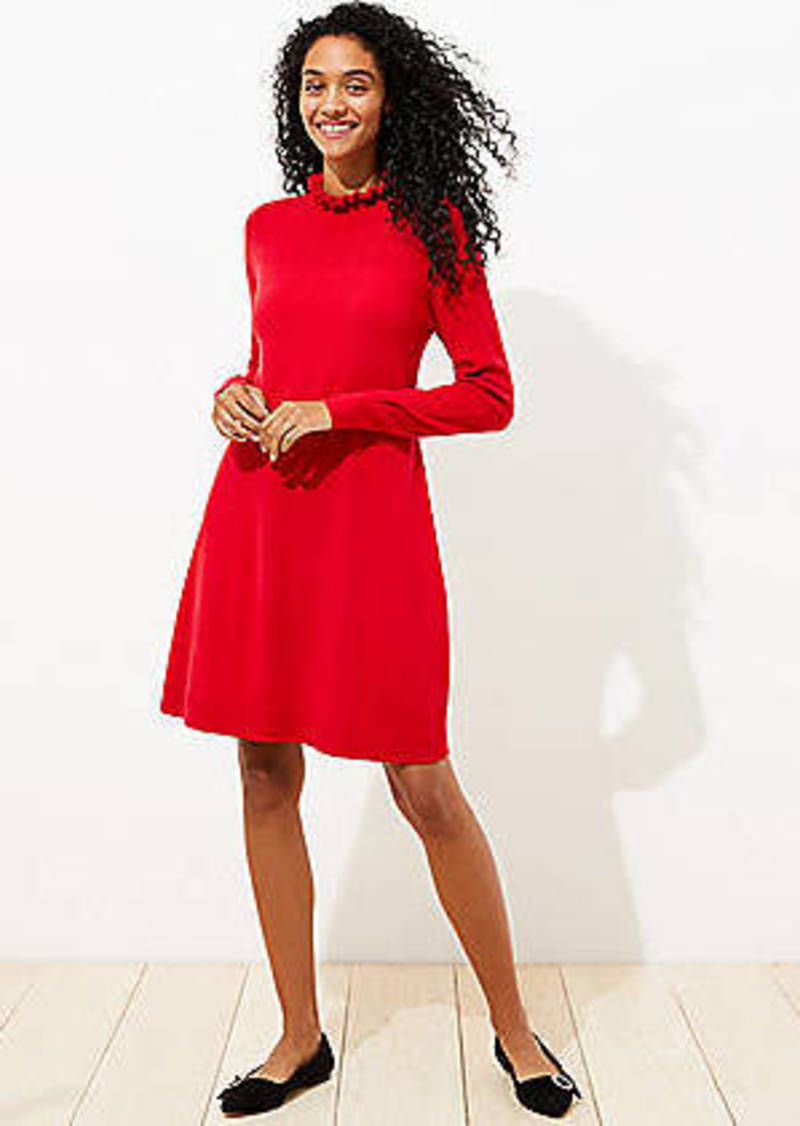 LOFT Ruffle Neck Pointelle Sweater Dress