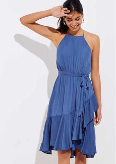 Ruffle Tie Waist Halter Dress