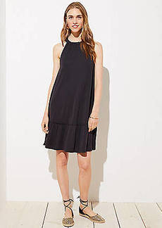 LOFT Sandwashed Ruffle Halter Flounce Dress