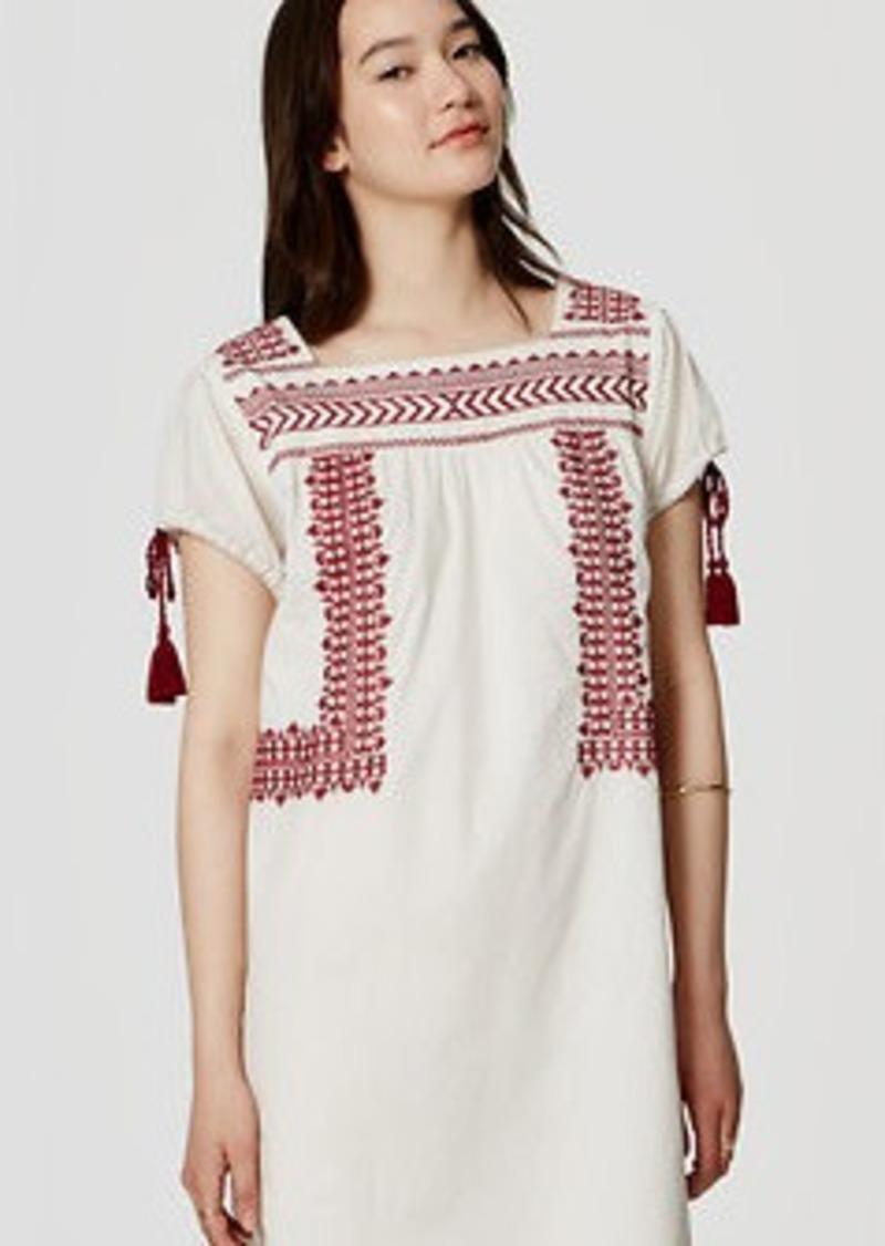 LOFT Sangria Peasant Dress
