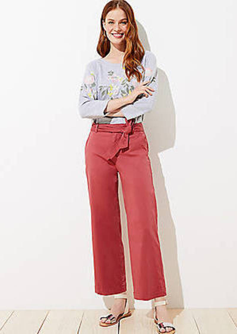 LOFT Sateen Tie Waist Wide Leg Pants