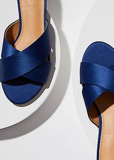 LOFT Satin Criss Cross Slide Sandals