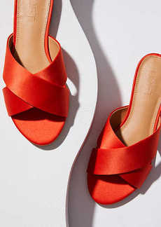 LOFT Satin Criss Cross Slide Sandals