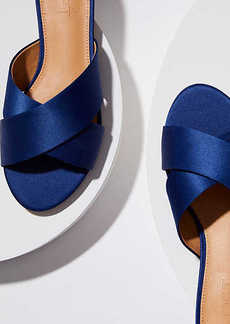Satin Criss Cross Slide Sandals