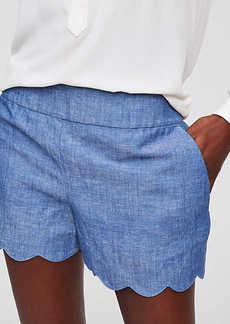 LOFT Scalloped Chambray Shorts