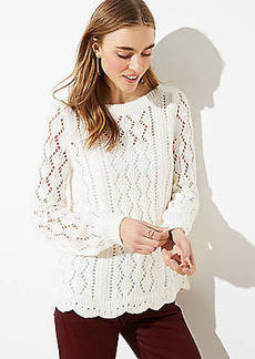 LOFT Scalloped Pointelle Sweater