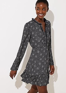 LOFT Scattered Dot Split Neck Dress