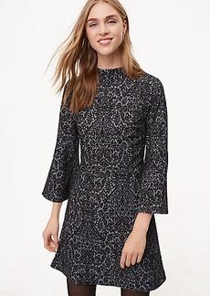Scroll Jacquard Bell Sleeve Dress