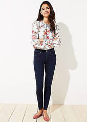 LOFT Seamed Slim Pocket Skinny Jeans in Pure Mid Indigo Wash