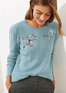 LOFT Sequin Flower Sweater