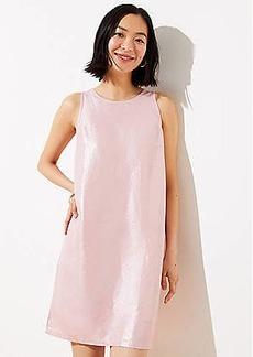 LOFT Shimmer Cutout Back Shift Dress