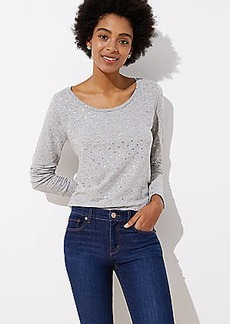 LOFT Shimmer Dot Long Sleeve Shirttail Tee