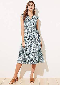 LOFT Shimmer Floral Ruffle Sleeve Flare Dress