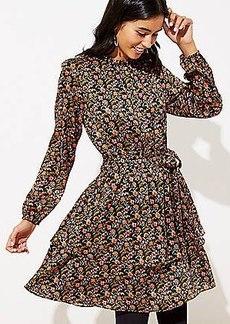 LOFT Shimmer Floral Tie Waist Dress