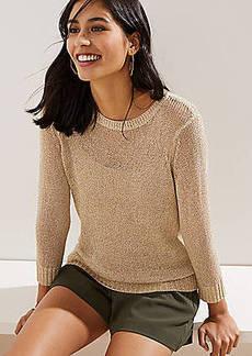 LOFT Shimmer Open Knit Sweater