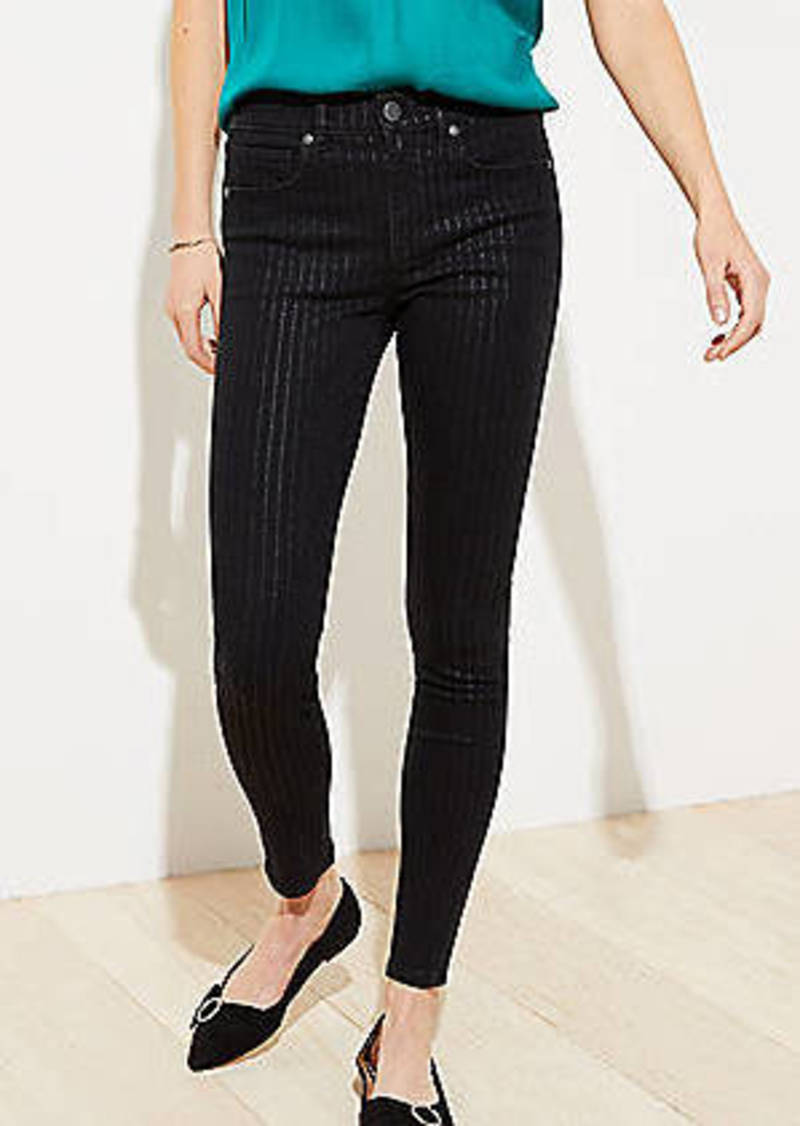 LOFT Shimmer Pinstripe Slim Pocket Skinny Jeans in Black
