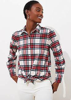 LOFT Shimmer Plaid Button Down Shirt