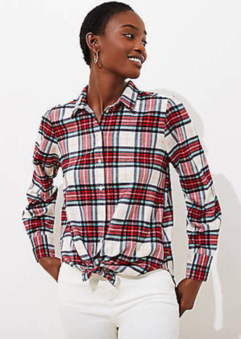 LOFT Shimmer Plaid Button Down Shirt