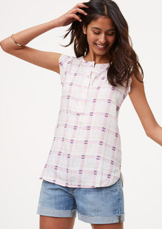 Shimmer Plaid Ruffle Henley Shell