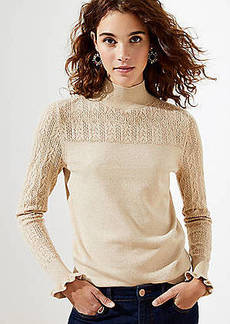 LOFT Shimmer Pointelle Turtleneck Sweater