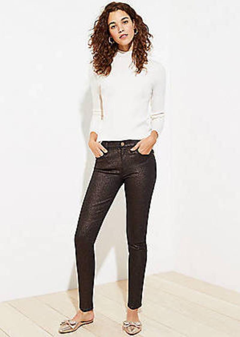 LOFT Shimmer Slim Pocket Skinny Jeans in Black