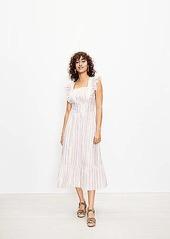 LOFT Shimmer Stripe Ruffle Cutout Back Midi Dress