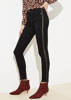 LOFT Shimmer Stripe Slim Pocket Skinny Jeans in Black