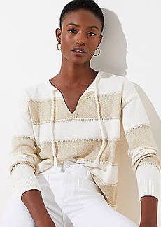 LOFT Shimmer Stripe Split Neck Sweater