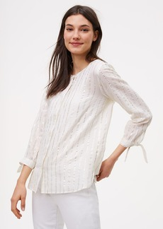 Shimmer Stripe Tie Cuff Softened Shirt
