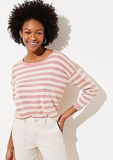 LOFT Shimmer Striped 3/4 Sleeve Sweater