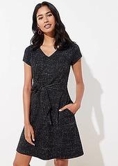 LOFT Shimmer Tweed Tie Waist Dress
