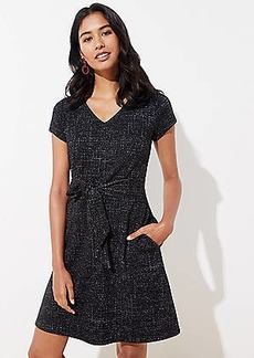 LOFT Shimmer Tweed Tie Waist Dress